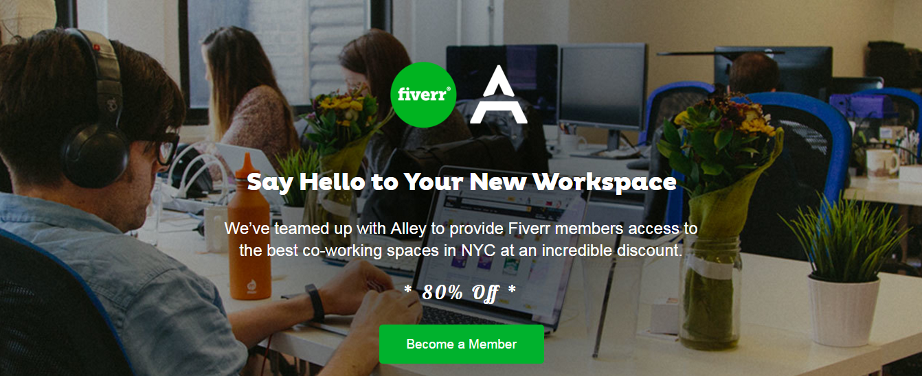 Fiverr Partners with Alley in NYC for Exclusive 80% Discount